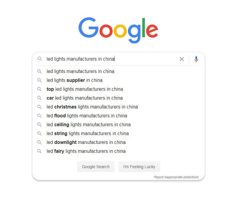 LED lights manufacturers in china search on Google