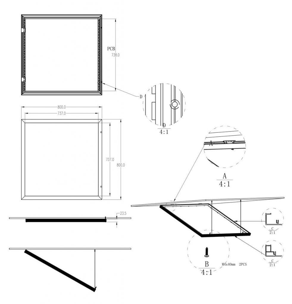 drawing of led panel lights